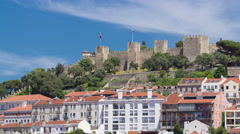 Lisbon fortress of Saint George view, Portugal Castelo de Sao Jorge, timelapse Stock Footage