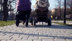 Woman in the park with baby carriage Stock Footage
