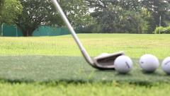 Close-up blur focus of basic golfer learning putter Stock Footage