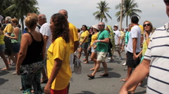 Brazilian protesters on Copacabana Beach. Protest against corruption, Rio Stock Footage