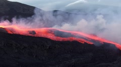 Lava flow at sunset Stock Footage