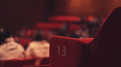 Cinema Theatre Out of focus audience crowd ,blurry crowd on seat Stock Footage
