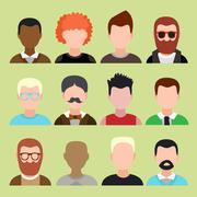 Stock Illustration of male and female faces avatars. flat style vector icons set
