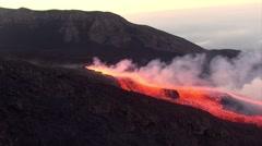 Volcano eruption at sunset Stock Footage