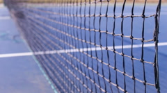 Tennis net and hard blue court 8 Stock Footage