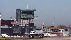 0676 UHD British Airways plane taxiing in Bologna airport Stock Footage