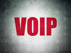 Web development concept: VOIP on digital background - stock illustration