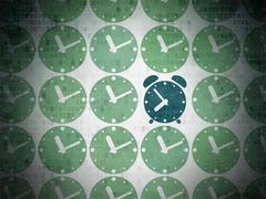 Stock Illustration of Timeline concept: blue alarm clock icon on digital background