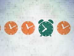 Timeline concept: green alarm clock icon on digital background Stock Illustration