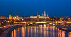 Night panoramic view of Moscow Kremlin, Russia Stock Photos