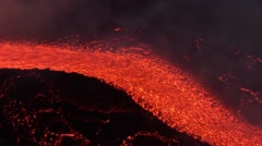 Volcano erupting with lava flow of night Stock Footage