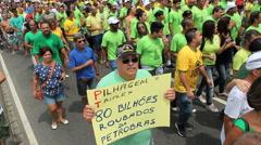 Massive crowd protesting in Brazil - Copacabana Beach, Rio de Janeiro, Brazil Stock Footage