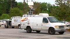 News crews cover the Walter Scott murder case Stock Footage