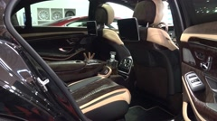4k Luxuary Mercedes noble car interior design at motorshow Stock Footage