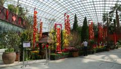 Conservatory Flower Dome on the territory Park Gardens by the Bay in Singapore Stock Footage