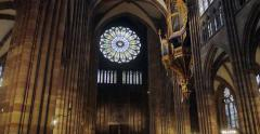 Tilt-up to rose window and church pipe organ in cathedral Stock Footage