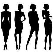 Four slim attractive women silhouettes - stock illustration