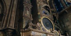Tilt-up to astronomical clock in cathedral Stock Footage