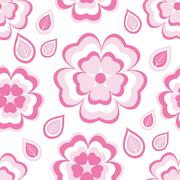 Seamless pattern with pink flowers sakura and leaves - stock illustration