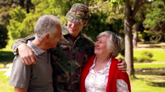 Stock Video Footage of Soldier reunited with his parents