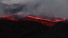 Volcano with big lava flow Stock Footage