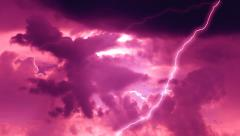 Lightning Strike stormy pink clouds Weather Stock Footage