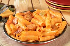 Sausage rigatoni in a skillet Stock Photos