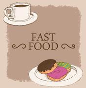 morning beverage doodle vector art - stock illustration