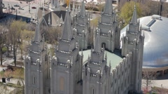 The mormon Temple in Salt Lake City Utah aerial Stock Footage