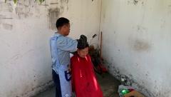 Roadside stalls and barber barber, in Shenzhen Stock Footage