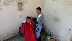 Roadside stalls and barber barber, in Shenzhen Stock Footage