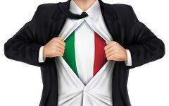 Businessman showing Italy flag underneath his shirt Stock Illustration