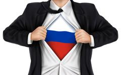 Businessman showing Russia flag underneath his shirt Stock Illustration