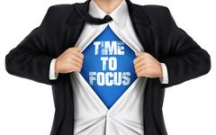 Businessman showing Time to focus words underneath his shirt Stock Illustration