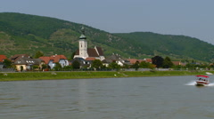 Austria - Wachau Valley Unterloiben village and its parish church (Pfarrkirche) Stock Footage