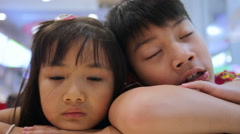 Portrait of asian kids, happy asian boy and girl Stock Footage