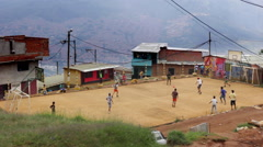 Neighborhood soccer in Latin America Stock Footage