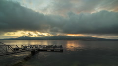 Cloudy morning by the dock - stock footage