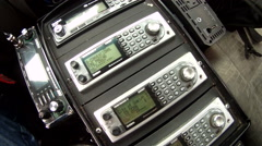 Police radio frequency scanners Stock Footage