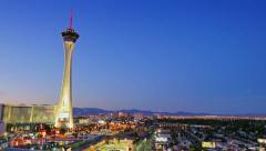 Timelapse Day to Night Shot of the Stratosphere Stock Footage