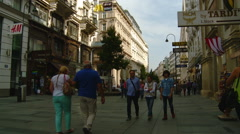 Austria - Vienna Shopping Street Stock Footage