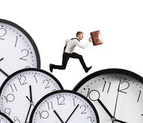Overload businessman runs Stock Photos
