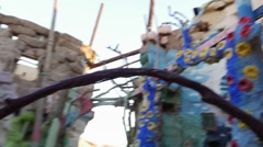 Pan of inside Salvation mountain Stock Footage