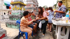 Celebrating Songkran (Thai new year / water festival) Greeting elders Stock Footage