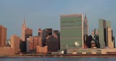 New York City manhattan buildings sunrise skyline morning Stock Footage