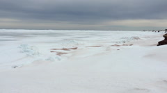 Pan across frozen PEI ocean Stock Footage