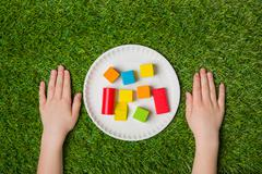 Ready to construct from color wooden blocks - stock photo