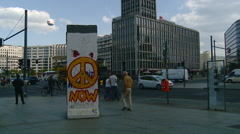 Berlin -  Berlin Wall Section on Dislplay at Potsdam Platz - Peace Now Stock Footage