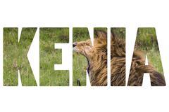Word KENIA over wild animals. Stock Photos