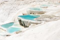 Mineral springs of Turkey, Pamukkale Stock Photos